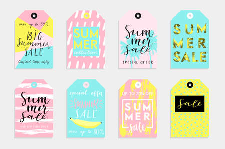 note paper: Summer set of sale and gift tags, labels with fun elements, hand drawn lettering and textures kit. Collection with palm tropical leaves, watermelon, banana, lemon, pineapple and much more.
