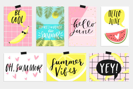 cool off: Summer June greeting cards and posters collection. Fun elements, hand drawn lettering, textures set. Sale banners, wallpaper, flyers, invitation, posters, brochure, voucher discount, ticket design. Illustration