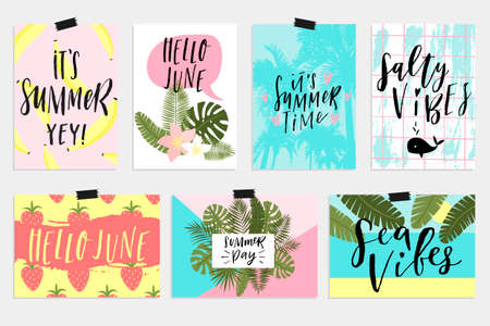 Summer June greeting cards and posters collection. Fun elements, hand drawn lettering, textures set. Sale banners, wallpaper, flyers, invitation, posters, brochure, voucher discount, ticket design.  イラスト・ベクター素材