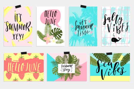 Cartoline d'auguri e manifesti di giugno. Elementi di divertimento, lettering disegnati a mano, set di texture. Vendita banner, carta da parati, volantini, inviti, manifesti, opuscoli, sconti su voucher, design dei biglietti.