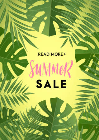 Summer greeting card and poster with leaves and hand drawn lettering and textures. Great for sale banners, wallpaper, flyers, invitation, posters, brochure, voucher discount, ticket design and more.