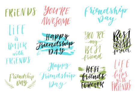 Vector feliz del día de la amistad del vector que pone letras al sistema colorido del diseño. Citas de inspiración. Utilizable como tarjetas de felicitación, carteles y más. Colección de los mejores amigos para siempre Foto de archivo - 80627241