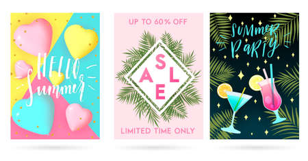 Summer greeting cards and posters set, lettering and textures. Great for sale banners, wallpaper, party flyers, wedding invitation, posters, brochure, voucher discount, ticket design and more.