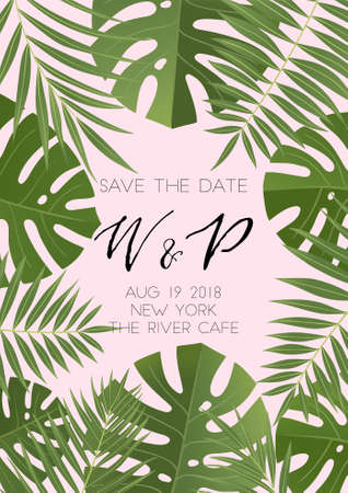 ummer wedding invitation design with tropical leaves. Hand drawn lettering and textures. Also great for sale concept, label, tag, wallpaper, flyer, poster, brochure, voucher discount. Vector EPS 10
