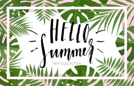 열 대 잎 여름 판매 배너 디자인입니다. 손으로 그려진 된 글자와 질감. 판매 개념, 레이블, 태그, 벽지, 전단지, 초대장, 포스터, 브로셔, 상품권 할인에