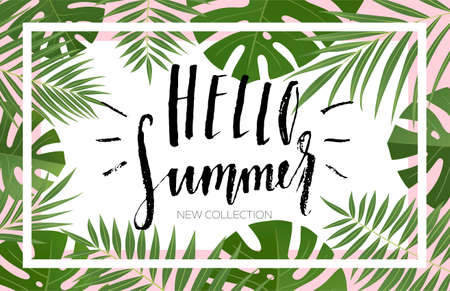 Summer sale banner design with tropical leaves. Hand drawn lettering and textures. Great for sale concept, label, tag, wallpaper, flyer, invitation, poster, brochure, voucher discount. Vector EPS 10. Ilustracja