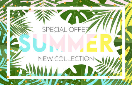 Summer sale banner design with tropical leaves. Hand drawn lettering and textures. Great for sale concept, label, tag, wallpaper, flyer, invitation, poster, brochure, voucher discount. Vector EPS 10. Stock Vector - 80632495