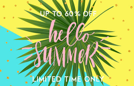 Summer sale banner design with tropical leaves. Hand drawn lettering and textures. Great for sale concept, label, tag, wallpaper, flyer, invitation, poster, brochure, voucher discount. Vector EPS 10. Ilustração