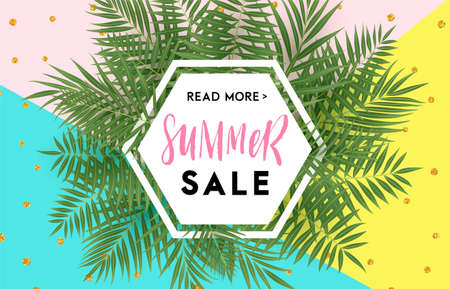 Summer sale banner design with tropical leaves. Hand drawn lettering and textures. Great for sale concept, label, tag, wallpaper, flyer, invitation, poster, brochure, voucher discount. Vector EPS 10. Illustration