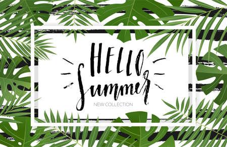 夏のトロピカル葉っぱ販売バナー デザイン。手描きのレタリングとテクスチャ。販売コンセプト、ラベル、タグ、壁紙、チラシ、招待状、ポスター  イラスト・ベクター素材