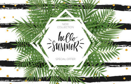 Summer sale banner design with tropical leaves. Hand drawn lettering and textures. Great for sale concept, label, tag, wallpaper, flyer, invitation, poster, brochure, voucher discount. Vector EPS 10. Ilustração