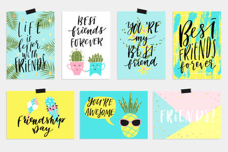 cool off: Summer June greeting cards and posters collection. Fun elements, hand drawn lettering, textures set. Sale banners, wallpaper, flyers, invitation, posters, brochure, voucher discount, ticket design