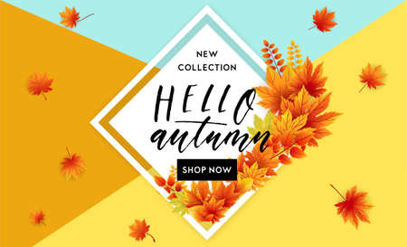 Autumn Sale Flyer Template With Lettering. Bright Fall Leaves ...