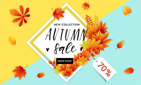 hi back: Autumn sale flyer template with lettering. Bright fall leaves. Poster, card, label, banner design. Bright geometrical background. Vector illustration Illustration