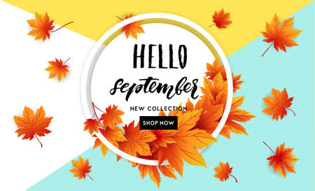Autumn sale flyer template with lettering. Bright fall leaves. Poster, card, label, banner design. Bright geometrical background. Vector illustration Çizim