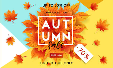 Autumn sale flyer template with lettering. Bright fall leaves. Poster, card, label, banner design. Bright geometrical background. Vector illustration Illusztráció