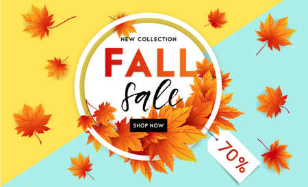 Autumn sale flyer template with lettering. Bright fall leaves. Poster, card, label, banner design. Bright geometrical background. Vector illustration Иллюстрация