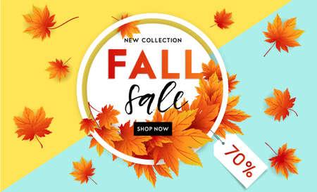 Herfst verkoop flyer sjabloon met belettering. Heldere herfstbladeren. Poster, kaart, label, bannerontwerp. Heldere geometrische achtergrond. Vector illustratie