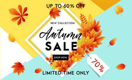 Autumn sale flyer template with lettering. Bright fall leaves. Poster, card, label, banner design. Bright geometrical background. Vector illustration Ilustração