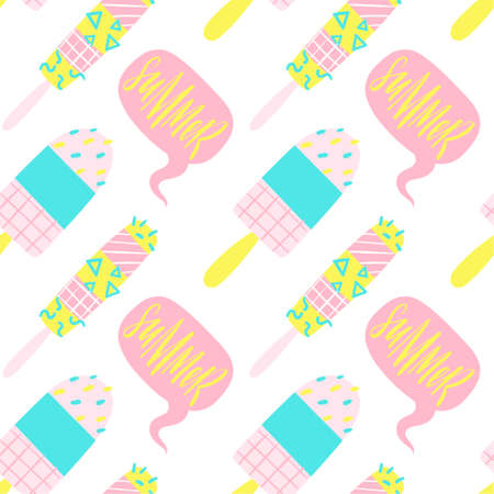 80th: Cute bright and fun summer seamless pattern. Pink yellow and blue different ice cream in simple kids style. Illustration