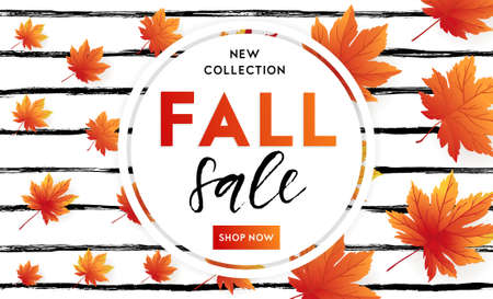 Autumn sale flyer template with lettering on striped background. Bright fall leaves. Poster, card, label, banner design. Bright geometrical background. Vector illustration EPS10