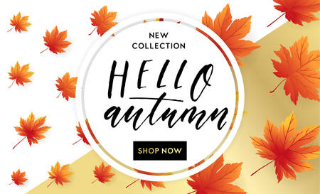 Autumn sale flyer template with lettering. Bright fall leaves. Poster, card, label, banner design. Bright geometrical background. Vector illustration EPS10 Illustration