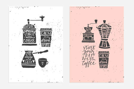 2 Hand drawn vintage prints with hand lettering. Tea quotes. This illustrations can be used as a cards, print, poster. - stock vector