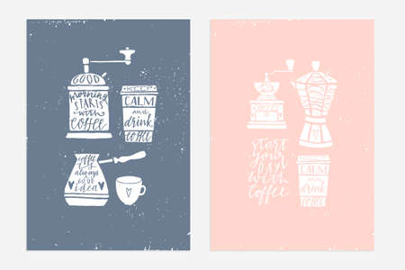 stock quotes: 2 Hand drawn vintage prints with hand lettering. Tea quotes. This illustrations can be used as a cards, print, poster. - stock vector