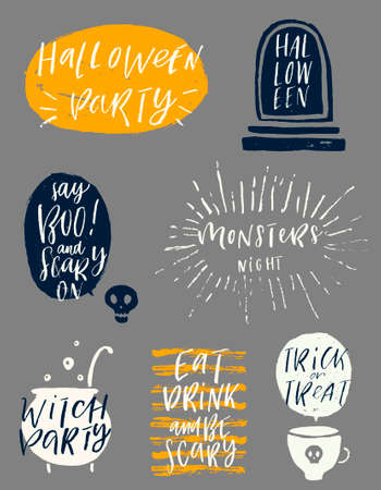 Halloween vector illustration. Set of hand drawn brush calligraphy for Halloween greeting, invitation or poster. Illustration