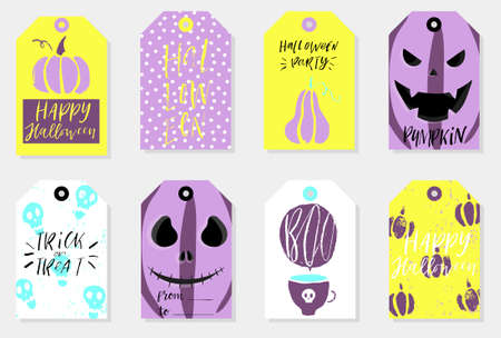 Set of 8 halloween gift tags. Cute and scary label templates for 31 october. Printable greeting cards in bright colors. Vector isolated illustrations