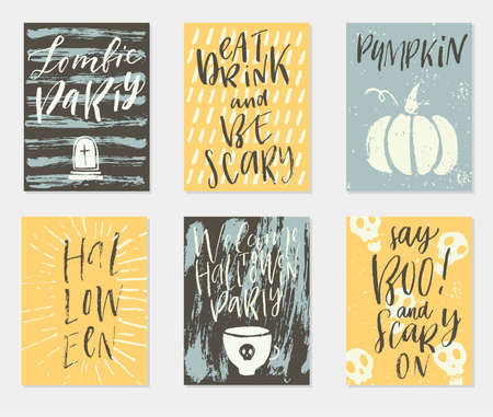 ハロウィーン休日手描き招待や手書き書道のご挨拶、単語やフレーズにグリーティング カードのベクトルを設定します。  イラスト・ベクター素材