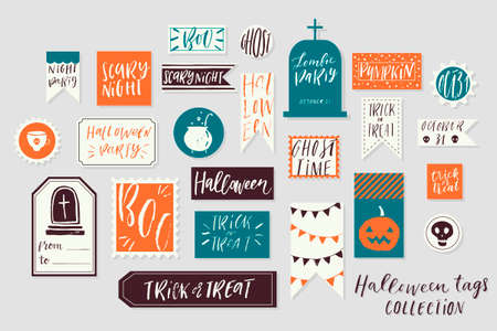 Abstract bright textured colored Halloweens printable tags collection. Love, heart, holiday sticker kit. Vector illustration