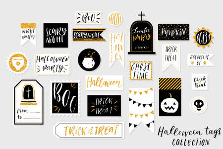 Abstract black, white and gold textured colored Halloweens printable tags collection. Love, heart, holiday sticker kit. Vector illustration Çizim