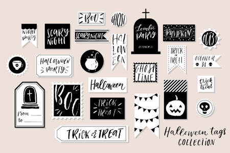 Abstract black and white textured colored Halloweens printable tags collection. Love, heart, holiday sticker kit. Vector illustration Çizim