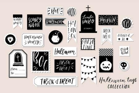 Colección De Etiquetas Imprimibles De Halloween Con Textura ...