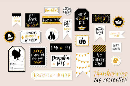 Abstract black, white and gold glitter textured colored Thanksgiving day printable tags collection.Thankful, grateful, blessed holiday sticker kit. Vector illustration. Illustration