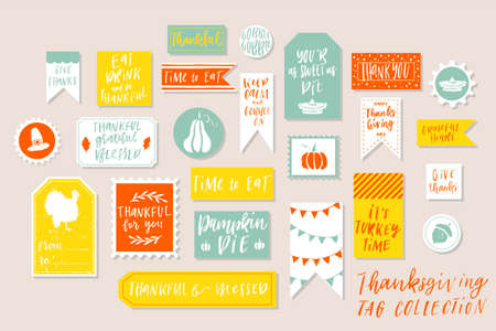 Abstract bright textured colored Thanksgiving day printable tags collection.