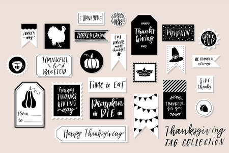 Abstract black and white textured colored Thanksgiving day printable tags collection.