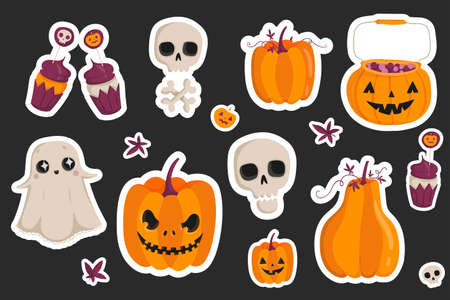 Halloween fashion quirky cartoon doodle patch badges with cute Halloween elements, Set of stickers, pins, patches in cartoon style.