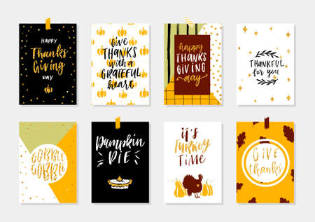 Collection of gold texture Thanksgiving day cute ready-to-use gift cards.