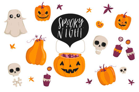 Halloween lettering set with cute holiday elements, Pumpkins, cupcakes, ghost, skulls, Typographic design illustration.