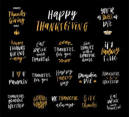 感謝祭の手描きの書道セット、休日のレタリングのエレガントなコレクション、はがき、ポスター、タグ、グリーティングカード、ステッカーキッ