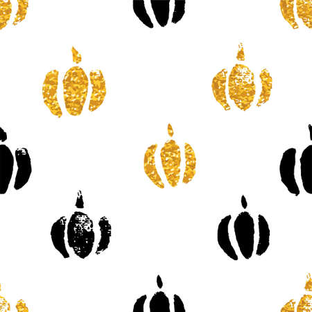 Gold autumn pumpkins repetitive pattern with gold glitter texture, Stylish design, textile or wrapping paper design.