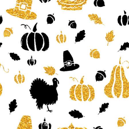 Het gouden herfste patroon van de herfstpompoenen met goud schittert textuur, Modieus ontwerp, textiel of verpakkend document ontwerp.