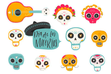 Vector hand drawn illustrations of Mexican holiday Day of the Dead. The postcard with traditional sugar skulls, marigold flowers Dia de los Muertos