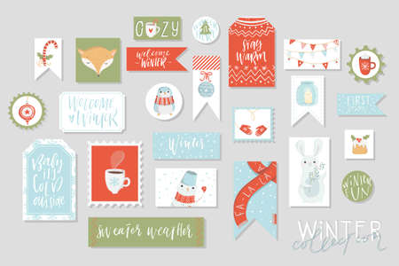 Winter collection of cards and gift tags set, cute hand drawn style. Set of printable kraft holiday stamps tags badge pins stickers greeting cards templates. Vector seasonal design illustrations Illustration