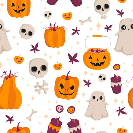 Vector sin patrón para Halloween. Calabaza, fantasma, cráneo y otros elementos. Patrón de dibujos animados brillante para Halloween