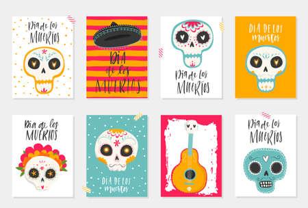 """벡터 손으로 그려진 그림 멕시코 휴가 """"죽은 일""""의. 전통적인 설탕 두개골, 메리 골드 꽃과 레터링 """"Dia de los Muertos""""엽서 일러스트"""