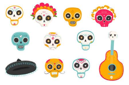 """벡터 손으로 멕시코 휴가 """"죽은 날""""의 그려진 삽화. 전통적인 설탕 두개골, 메리 골드 꽃 """"Dia de los Muertos"""""""