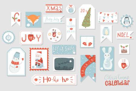 Christmas advent calendar, cute hand drawn style. Twenty four christmas countdown printable tags collection. Count down till christmas kit. Advent calendar. Vector illustration